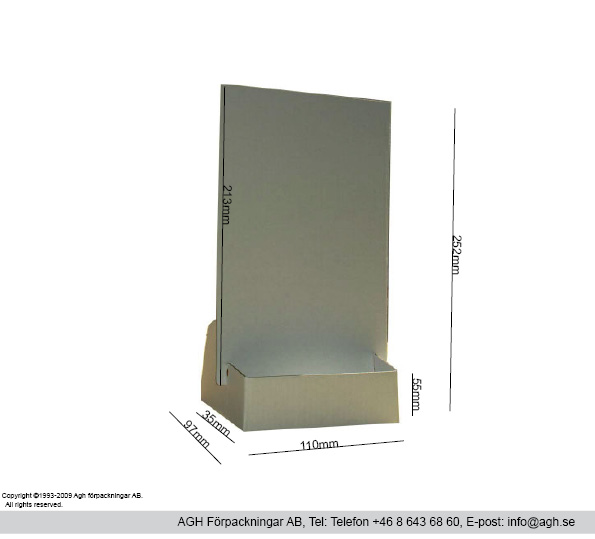 Broschyrställ A6 format 110x35x55/220mmd
