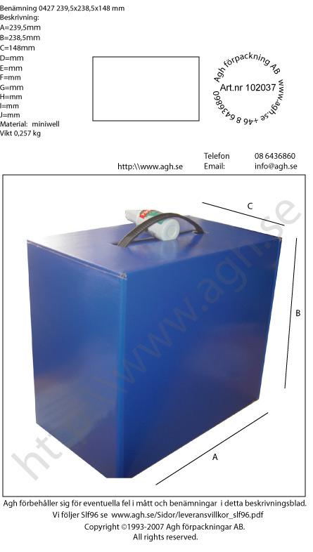 Box med hantag 239,5×238,5x148mm