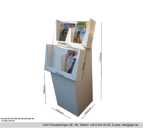Katalogställ med 4 fack format 236x92x301mm