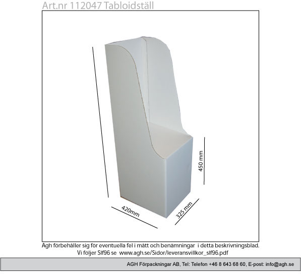 Kampanj på 112047 format 325×420 mm packhöjd 715mm