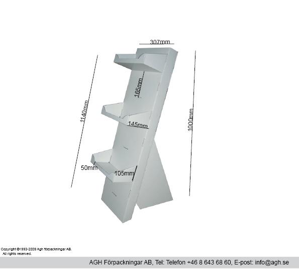 Golvställ med hyllor max 6 stycken (hyllformat 307x145mm)